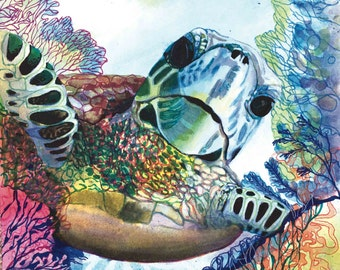 Sea Turtle, Wall Art, Ocean, Beach, Sea life, Marine Life, Marine biology, Marine Conservation, Honu