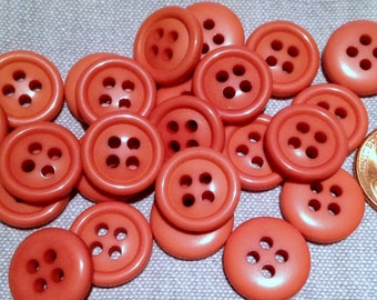"24 Shiny Muted Coral Pink Sew-through Plastic Buttons 14.6mm 9/16"" # 7835"