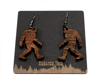 Yeti Sasquatch Big Foot Skunk Ape Earrings Custom Wood Birthday Fun Love Holidays