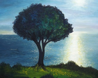 Art, acrylic painting, tree in the evening light, Greece, Landscape, Sunset, original painting, 19,6 x 19,6 cm x 0,7 inches