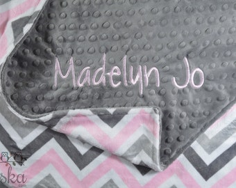 Personalized Blanket, Minky Blanket, Personalized Name Blanket, Pink Blanket, Grey Blanket, Choose Your Colors, Choose Your Size.