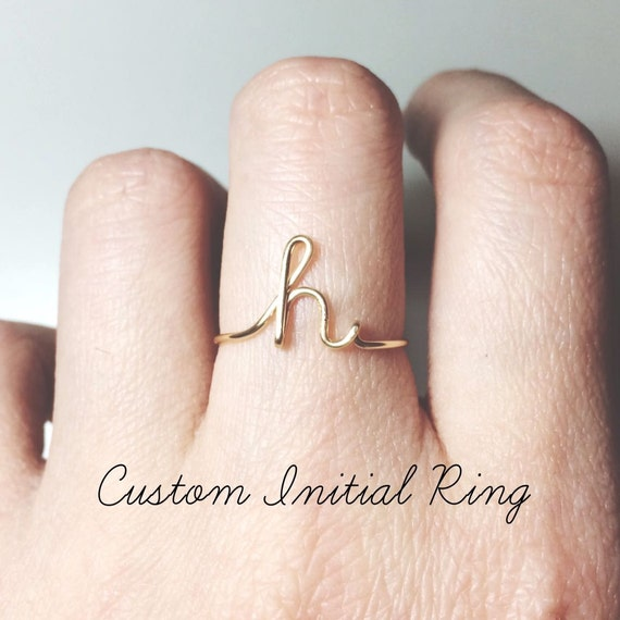 Custom Initial ring sterling silver letter ring/gold initial/knuckle mid ring/stack ring/name ring/personalized bridesmaid gift/wedding gift