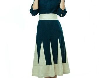 Navy Blue Linen Dress.Eco friendly dress cotton.MIDI day dress- custom made