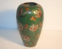 Vintage Brass and Enamel Painted Vase India, Home decor, Vintage Vase