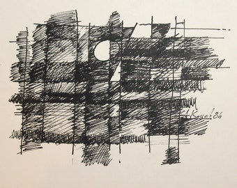 1986 Abstract Ink Painting Signed