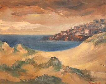1987 Impressionist Seascape Landscape Oil Painting Signed