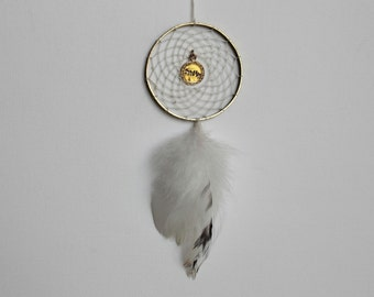 Small white and gold dream catcher, boho gypsy room decor