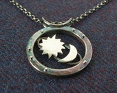 "Silver Sun, Moon & Stars ""Cosmos"" Pendant. Hallmarked Solid Sterling Silver. Dark Patina with Chain to Match. Great Christmas Gift"