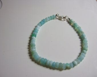 """6.75"""" Sky Blue Opal Bracelet with Sterling Silver Lobster Clasp and Findings"""