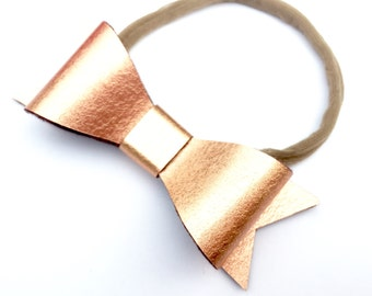 Baby bows and headbands - metallic copper - baby bow headband