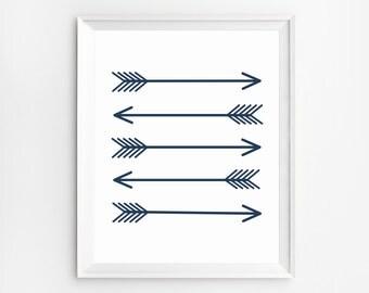 Arrow Art, Navy Blue, Wall Art, Arrow Poster, Wall Art Prints, Printable, Art Print, Arrow Wall Art, Prints, Poster, Arrow Decor, Blue Art