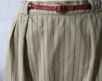 Vintage Preppy Skirt; Vintage 80s preppy skirt; striped long skirt; midi skirt; long cotton skirt; beige denim skirt; striped preppy skirt