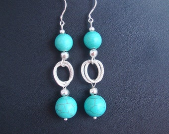 Semi precious turquoise earrings on sterling silver hooks