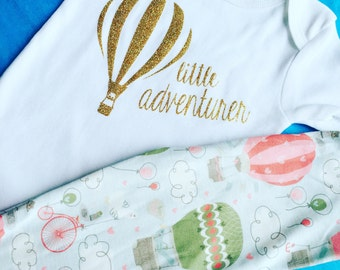 Little adventurer. Baby adventure. Hot air balloon outfit. Bike outfit. Baby adventure. Little sister. Baby girl. Hot air balloon.