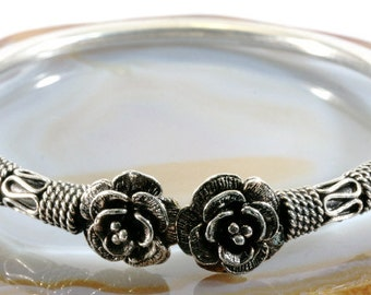 Flower,bangle, 925 sterling silver
