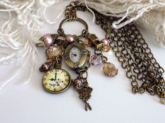 Victorian Style Clock Necklace Watch Charm Necklace Pink Pearl Necklace Steampunk Jewelry Romantic Necklace