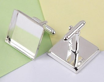 Silver Plated Copper Blank Square Tray French Cufflinks Cuff Links DIY Jewelry Settings Findings Wholesale