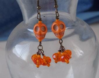 Skull Earring Orange Howlite Skull Earrings  E54