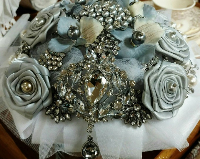 Silver & Grey with White Satin Brooch Bouquet