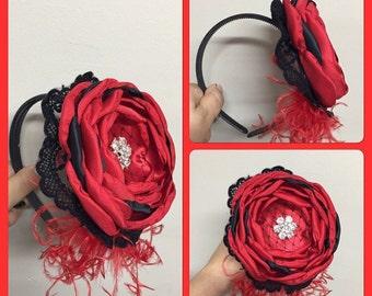 Red and black hard headband christmas