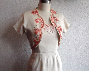 1940s embroidered linen dress with matching bolero jacket