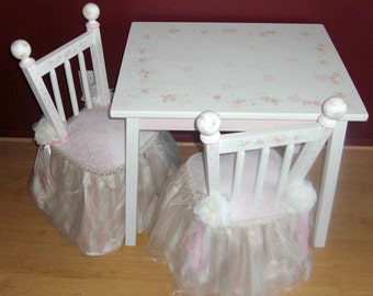 custom princess table set, hand painted children's furniture, child's table & chair set