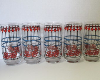 Vintage Pepsi-Cola Drinking Glasses Set of 5 / Water Glasses Tumblers Stained Glass Style