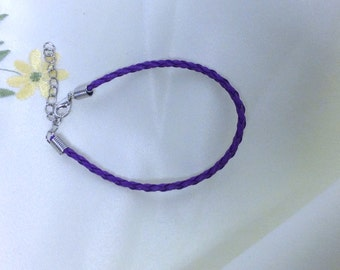 Deep Purple Leather Braided Bracelet , men , women, teens, simple , clean, wrist, gift