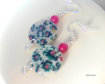 Mother of Pearl Orchid flowers and Agate earrings trend copper wire silver tone green bordeaux 925 Silver hooks