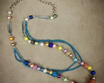 Beaded multi- layer necklace