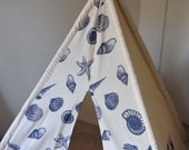 Christmas Sale, Sea Shells  Off White Canvas Teepee Fabric