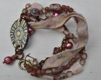 Pink boho multi-strand bracelet with silk - Suzieqbeads - DayLilyStudio