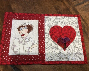 Quilted nurse mug rug coffee snack mat hospital theme placemat nurse valentine gift heart and stroke red hearts Loralie nurse fabric