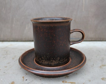 Arabia of Finland RUSKA Demi Coffee Cup and Saucer, Designed by Ulla Proscope Brown Stoneware Scandinavian Design