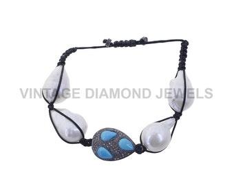 Pearl Gemstone Bracelet Pave Diamond Beaded Bracelet .925 Silver Turquoise Bracelet Party Wear Designer Bracelet VDBH-0242