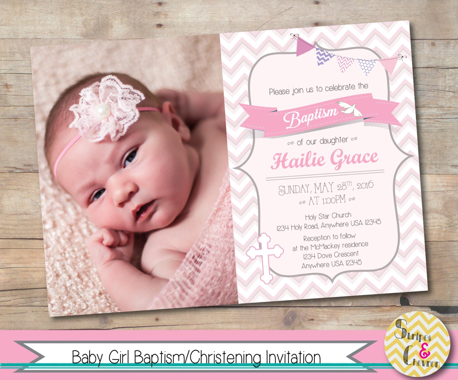 Girl baptism invitation Christening invite Personalized