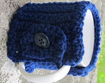 Navy Blue Crochet Mug Cozy With Button Ready to Ship