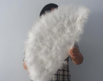 16*32inch White Large  Feather Fan Burlesque Dance feather fan Bridal Bouquet
