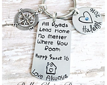 Gift for New Teen Driver, Sweet 16 present, New Car Gift, All Roads Lead Home Keychain, Graduation Keychain long Distance Keychain, leaving