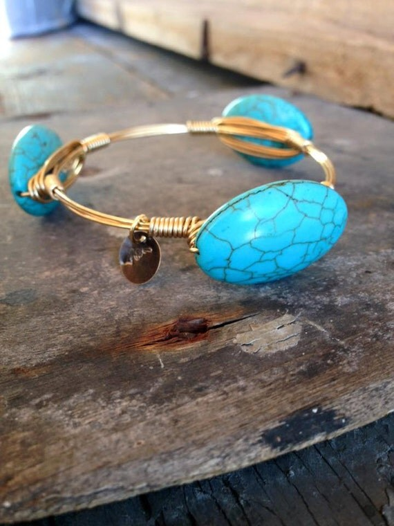 Turquoise Bangle, Turquoise Bracelet , Jewelry, Stackable Bangles, Wire Wrap Bangles, Non-Tarnish Wire, Beautiful, Trendy,  Bracelets