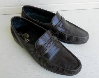 Vintage Men's Stafford Dark Brown Loafers w/Braid Size 10D