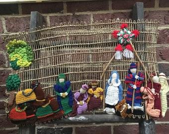 Nativity scene- vintage nativity/ crochet nativity SALE!