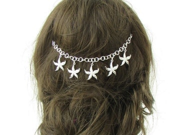 Silver Starfish Headband Beach Mermaid Boho Hair Vine Crown Ariel Sea Bridal 480