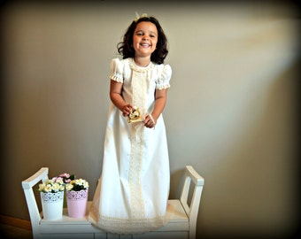 NEKANE..(1T to 6+ years).Toddler.Girl Dress.Gown.Imperial batiste,bobbin lace.Custom your OWN outfit.Easter.Baptism.Heirloom.Communion.