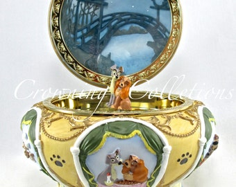 Disney Lady and The Tramp Round Music Box Circular Jewelry Box Bella Notte RARE Si and Am Vintage Trinket Box