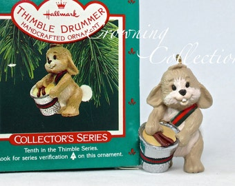 1987 Hallmark Thimble Drummer Bunny Keepsake Ornament Rabbit with Drums 10th in Series #10