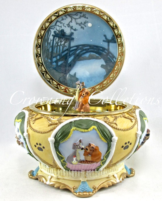 Disney Lady and The Tramp Round Music Box Circular Jewelry Box