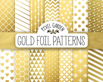 Gold Foil Digital Paper. Gold and White Scrapbook Papers. Gold Stripes, Dots, Chevron, Hearts, Confetti Patterns. Wedding, Party Background.