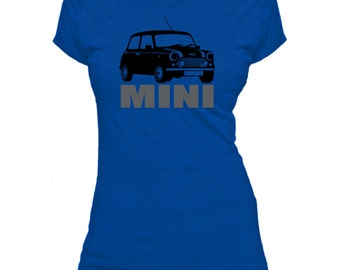 Classic Mini Cooper. Text. Ladies fitted t-shirt.