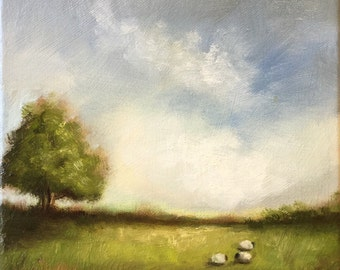 Three Sheep Original Oil Painting, Welsh Landscape by Jane Palmer